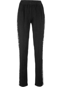 Stretch-Jeans mit Komfortbund, seitlich bedruckt