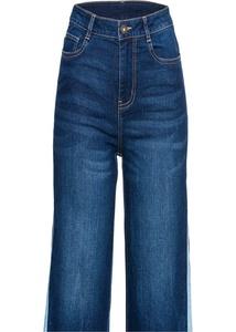 Zweifarbige Jeans-Culotte mit seitlichem Schlitz