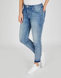 Via Cortesa - Jeans mit Galonstreifen und offenem Saum