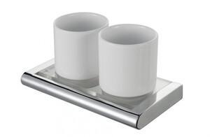 Badkomfort Zahnputzbecher, Zahnputzglas Porzellan Doppelglashalter, Edelstahl verchromt