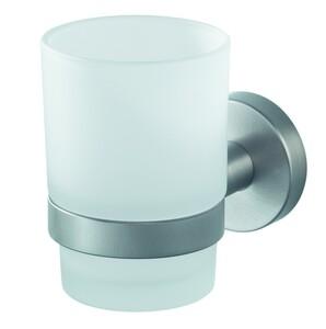Badkomfort Zahnputzglas, Zahnputzbecher Glas, Wandhalterung gebürstet