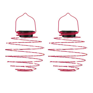I-Glow LED Solar Spiral-Lampion, Ø 12cm, Pink - 2er Set