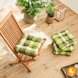 Solax-Sunshine Sitzkissen, Karo Lindgrün - 4er Set