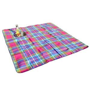 Solax-Sunshine Picknickdecke ca. 200 x 200 cm Schotte Pink/Blau/Gelb