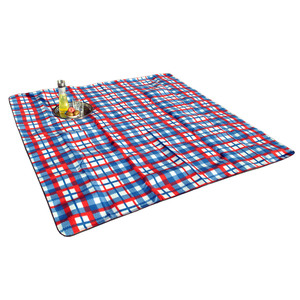 Solax-Sunshine Picknickdecke ca. 200 x 200 cm Schotte Blau/Rot/Weiß