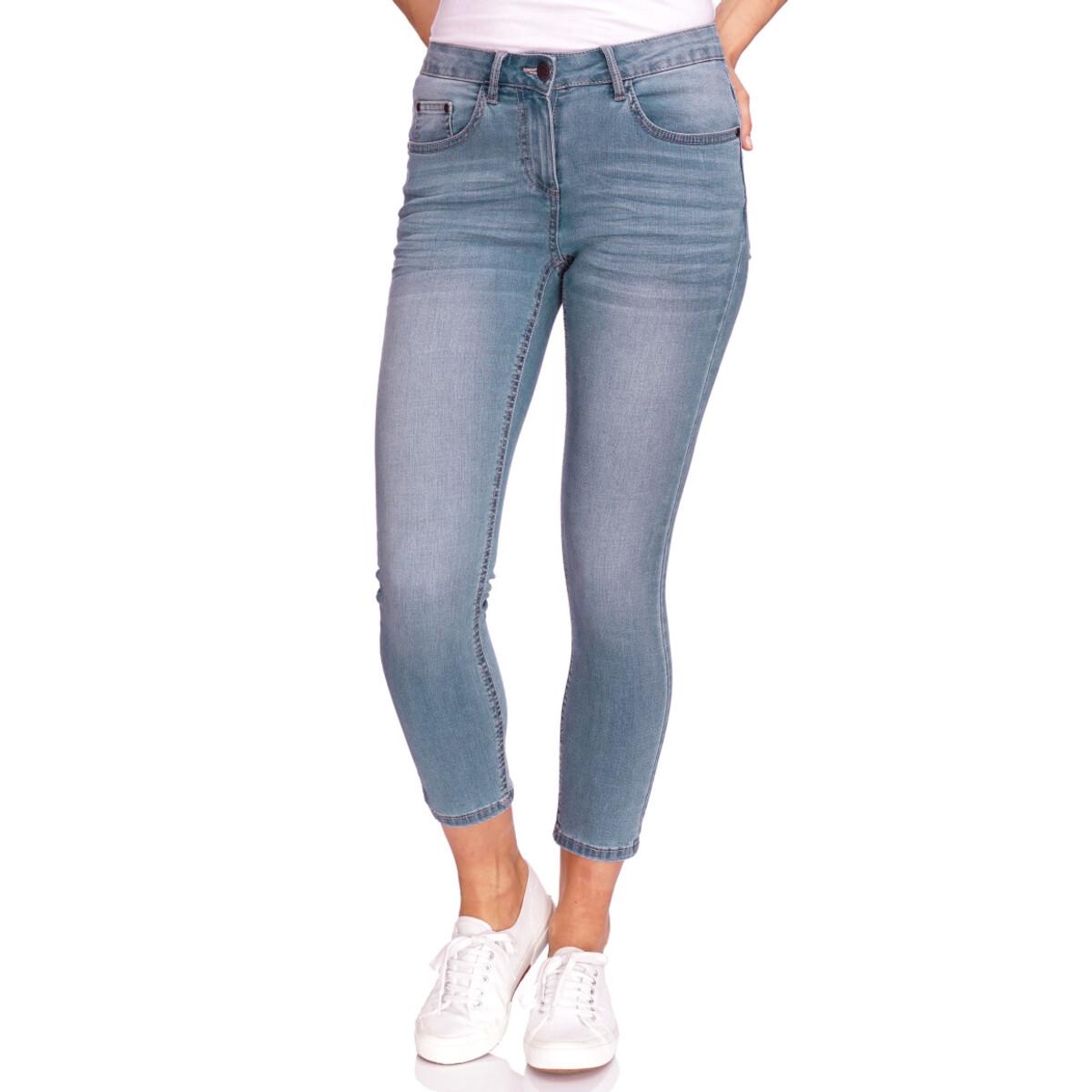 Bild 2 von 7/8 Damen Slim-Jeans mit Used-Waschung