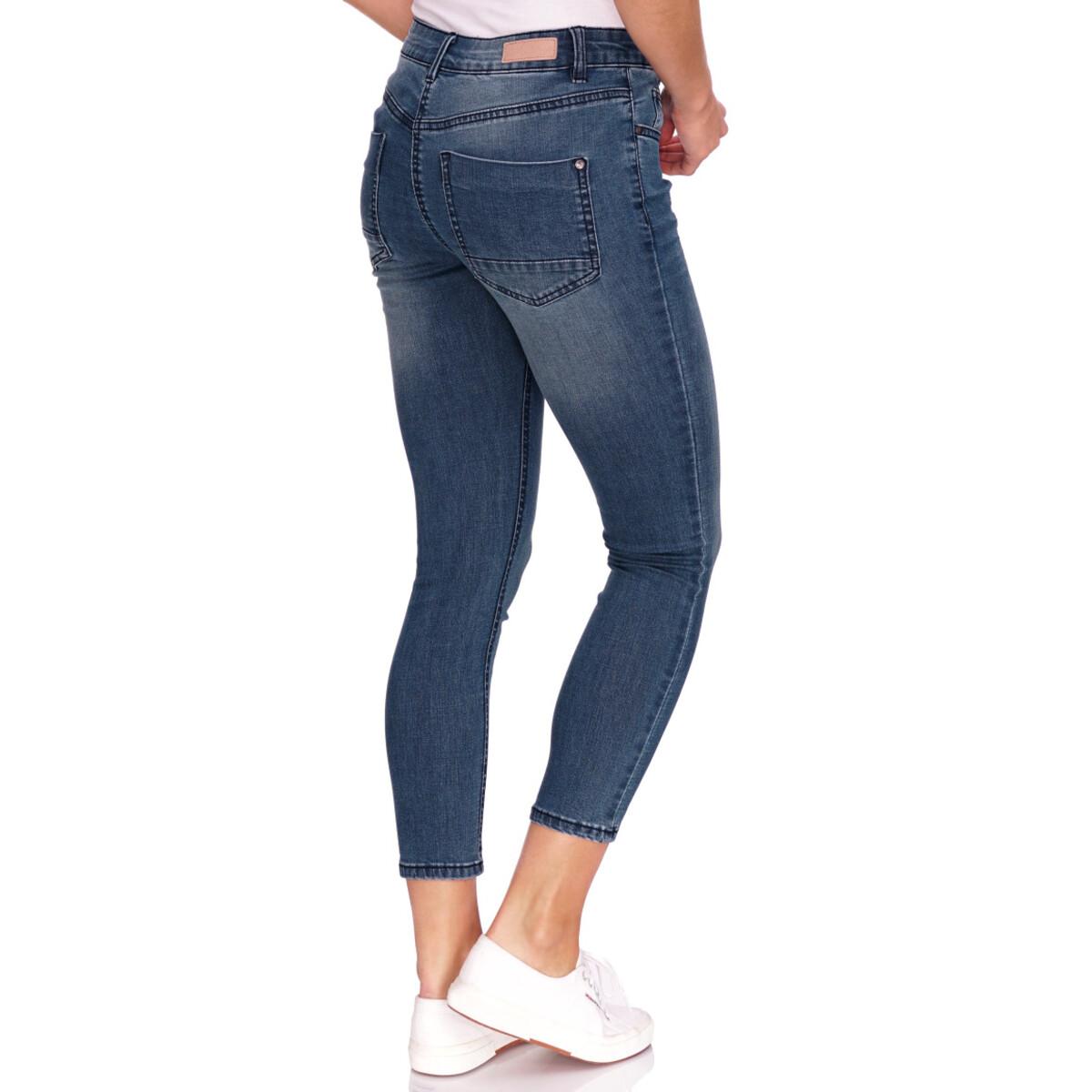 Bild 3 von 7/8 Damen Slim-Jeans mit Used-Waschung