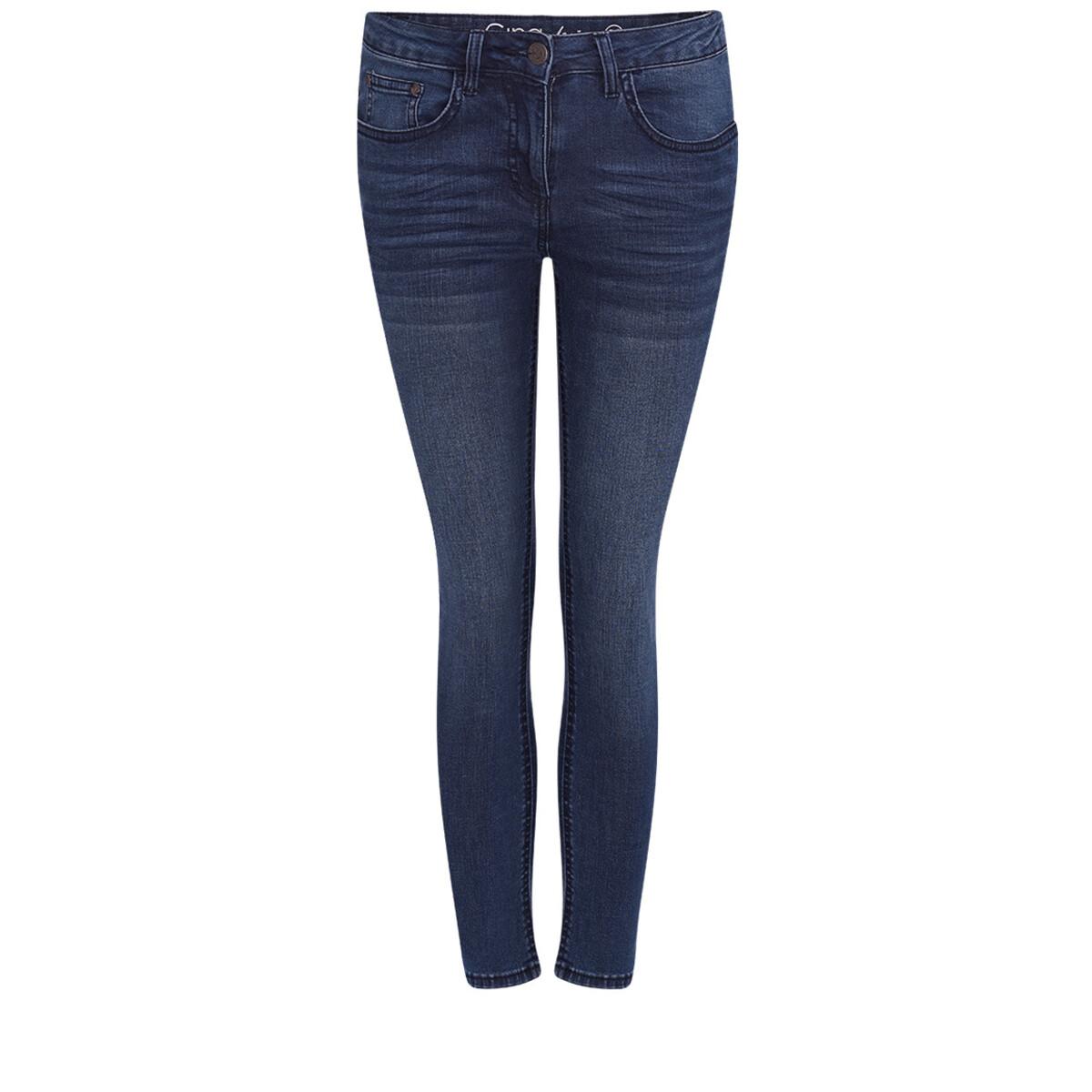 Bild 1 von 7/8 Damen Slim-Jeans mit Used-Waschung