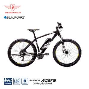 Alu-E-Mountainbike S150 27,5er - Fahrunterstützung bis ca. 25 km/h - Blaupunkt Li-Ionen-Akku 36 V/10,4 Ah, 374 Wh - Reichweite: bis ca. 120 km (je nach Fahrweise) - Blaupunkt wartungsfreier Hinterra