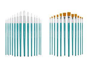 CRELANDO® Pinsel, mit Synthetik-Borsten, Birkenholz-Griff, mit Aluminiumhülse