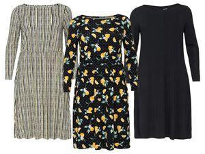 ESMARA® Kleid Damen, mit Rundhalsausschnitt, mit Viskose und Elasthan