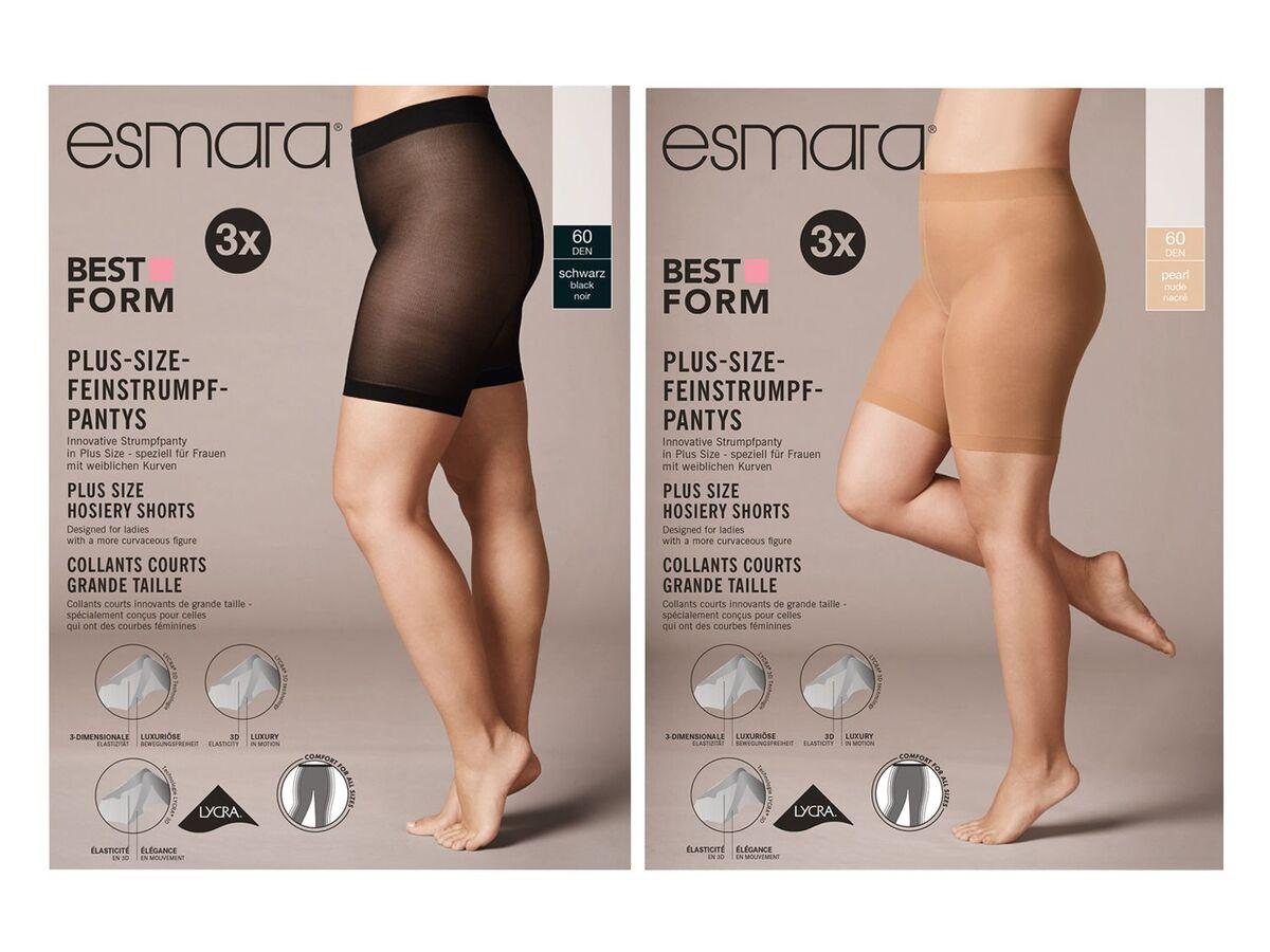 Bild 1 von ESMARA® Strumpf-Panty Damen, 3 Stück, Plus Size, mit Elasthan