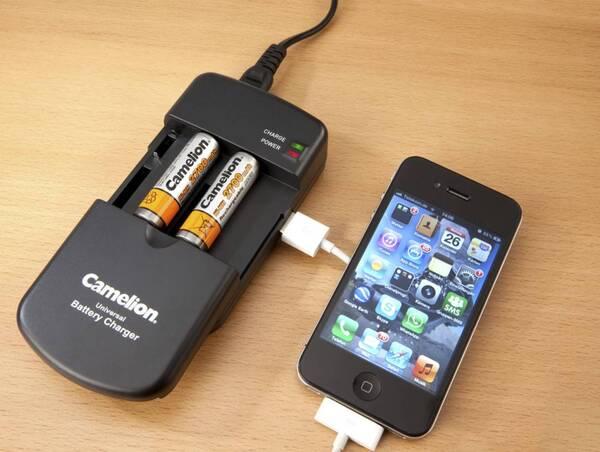 Tischladegerät für Li-Ion Akkus, verstellbare Kontakte + USB, AA, AAA Camelion