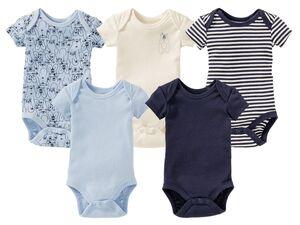 LUPILU® PURE COLLECTION Baby Body Jungen, reine Bio-Baumwolle, trocknergeeignet, 5 Stück