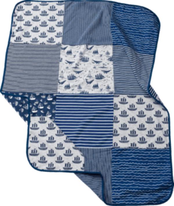 ALANA Baby Decke, in Bio-Baumwolle und Elasthan, 100 x 75 cm, blau, grau