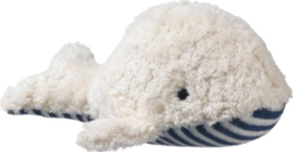 ALANA Baby Kuscheltier Wal, in Bio-Baumwolle und Schurwolle, weiß, blau