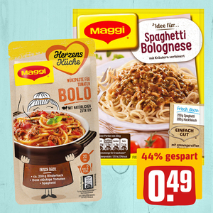 Maggi Fix Spaghetti Bolognese oder Maggi Herzensküche Würzpaste Bolo
