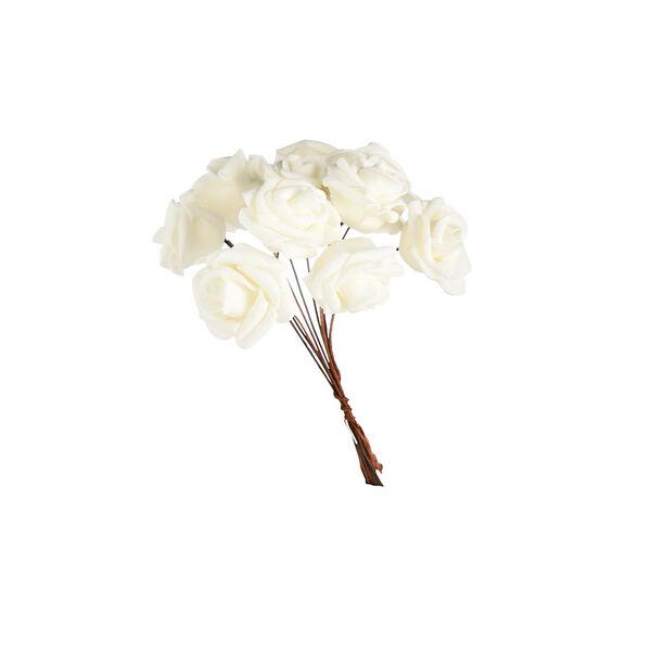 Blumenbündel Rose, 10 Stück, L:10cm, weiß