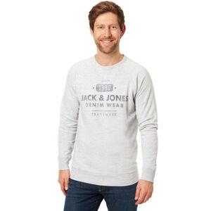 Jack & Jones Sweatshirt, Rundhals, Logo Schrift-Print, Rippbündchen, für Herren