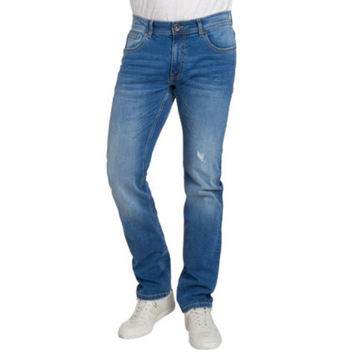 Bild 1 von manguun Herren Jeans, Slim Fit, Baumwolle, Destroyed Denim
