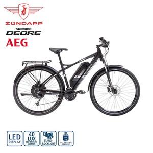 Alu-E-All Terrain-Bike S200 29er • Fahrunterstützung bis ca. 25 km/h • AEG Li-Ionen-Akku 48 V/ 10,4 Ah, 487 Wh • Reichweite bis ca 120 km (je nach Fahrweise) • AEG wartungsfreier Hinterradmo