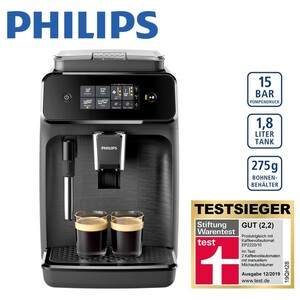 Kaffeevollautomat EP 1220/00 · intelligentes Brühverfahren · 12 Mahlgrad-Einstellungen · 3 Temperatur-Einstellungen · kann auch mit Kaffeepulver    betrieben werden