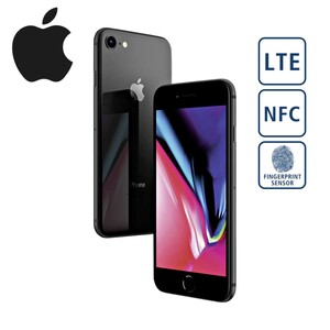 iPhone 8 · HD-IPS-Display · 2-GB-RAM · 64-GB-interner-Speicher · 2 Kameras (7 MP/12 MP) · QI-Ladefunktion möglich · iOS