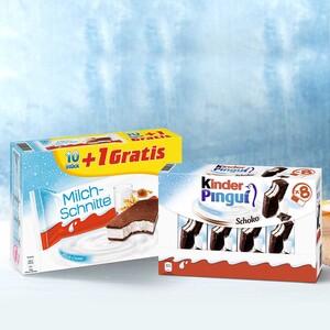 Ferrero Milch-Schnitte 10 + 1 x 28 g = 308 g oder Kinder-Pingui   8 x 30 = 240 g, jede Packung