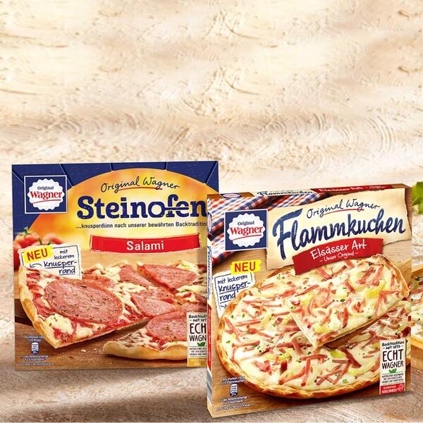 Original Wagner Steinofen Pizza Salami oder Flammkuchen Elsässer Art gefroren, jede 320/300-g-Packung und weitere Sorten
