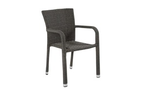 L.C. Wholesaler - Garten-Stapelstuhl Barcelona in Geflecht Polyrattan grey-mix