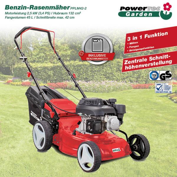 Powertec Garden Benzin-Rasenmäher PPLM 42-2 mit Benzinkanister