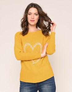 Viventy - Pullover in allover Ripp mit Perlenherz und Ziersteinen