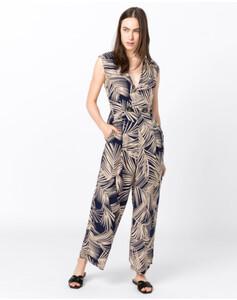 Hallhuber Jumpsuit mit Blätterprint für Damen in indigo