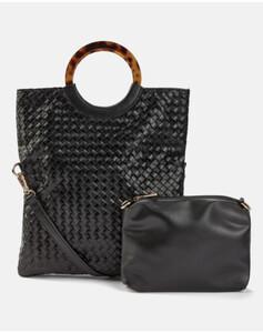 Hallhuber Three-In-One-Tasche in Flecht-Optik für Damen Gr. One Size in schwarz