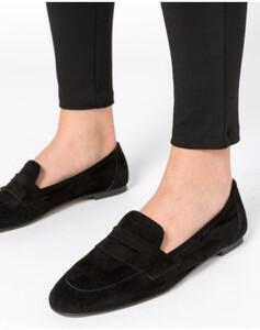 Hallhuber Loafers aus Ziegenveloursleder für Damen in schwarz