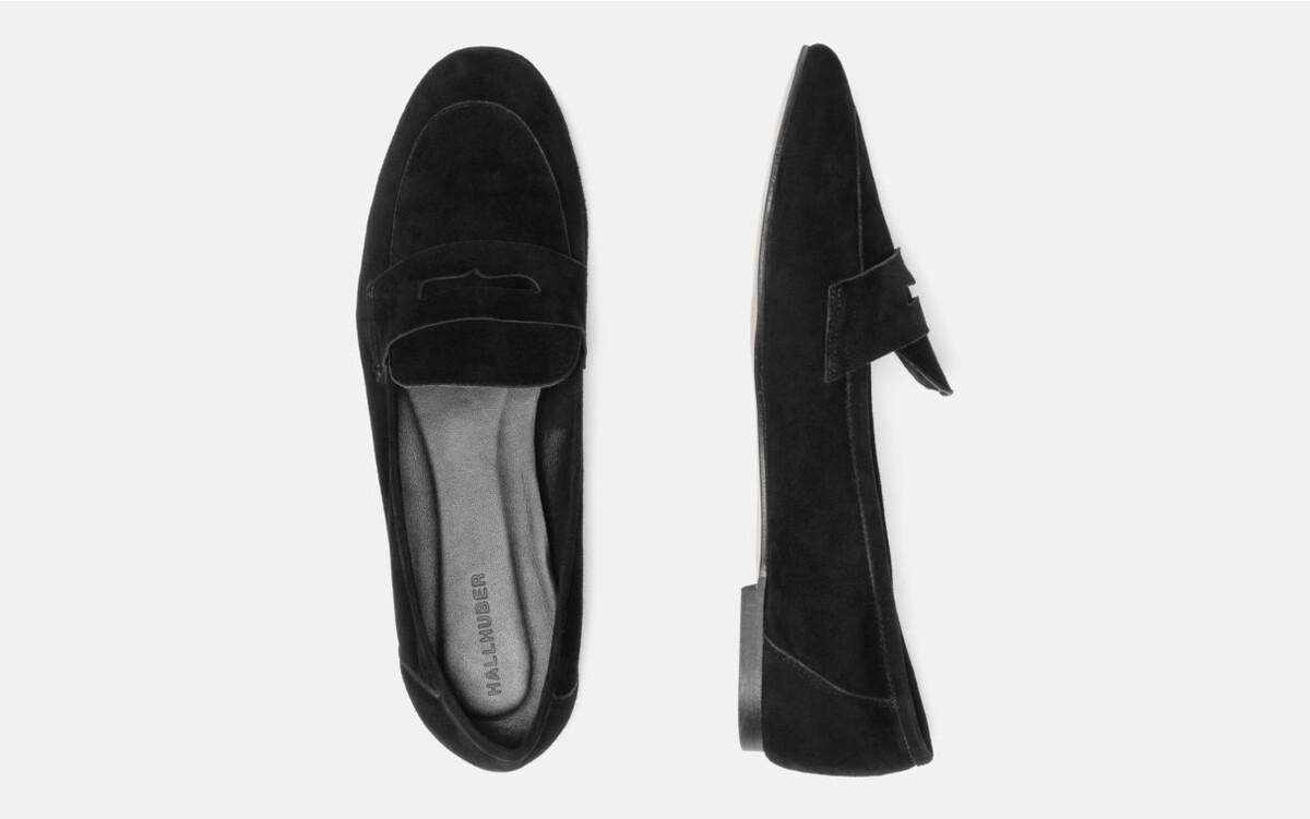 Bild 3 von Hallhuber Loafers aus Ziegenveloursleder für Damen in schwarz