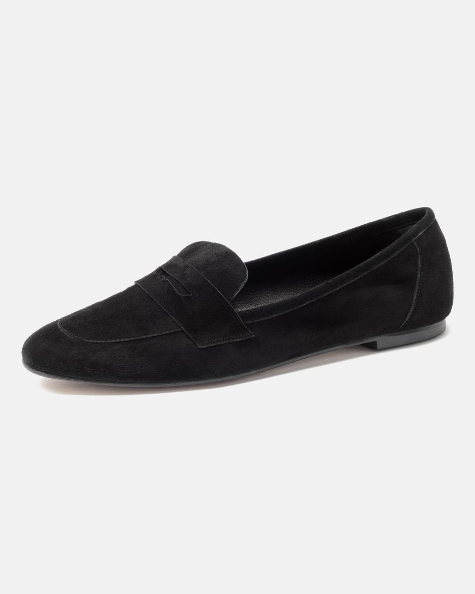 Bild 5 von Hallhuber Loafers aus Ziegenveloursleder für Damen in schwarz