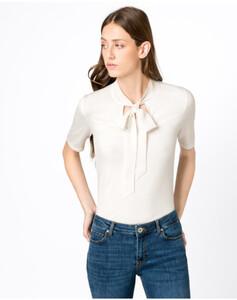 Hallhuber T-Shirt mit Seidenschluppe für Damen in offwhite