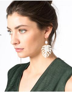 Hallhuber Ohrhänger in Blattform mit echter Süßwasserperle für Damen Gr. One Size in gold