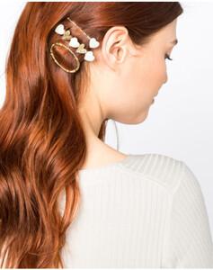 Hallhuber Haarspangen-Set mit Herzen aus echtem Perlmutt für Damen Gr. One Size in gold