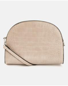 Hallhuber Half-Moon Bag in Kroko-Optik für Damen Gr. One Size in milchkaffee