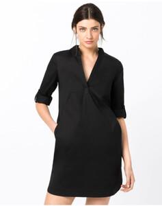 Hallhuber Hemdblusenkleid mit Krempelärmeln für Damen in schwarz