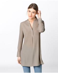 Hallhuber Long-Bluse mit Seitenschlitzen für Damen in kitt