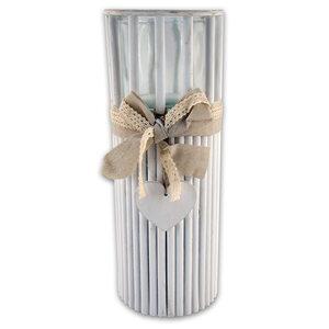 Windlicht - weiß - Bambus - 40 cm