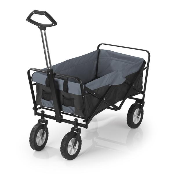 Easymaxx Bollerwagen faltbar mit Tragfähigkeit bis ca. 80 kg schwarz/grau