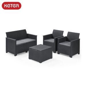 Keter Lounge-Sitzgruppe Emma mit Sitzkissen Graphit