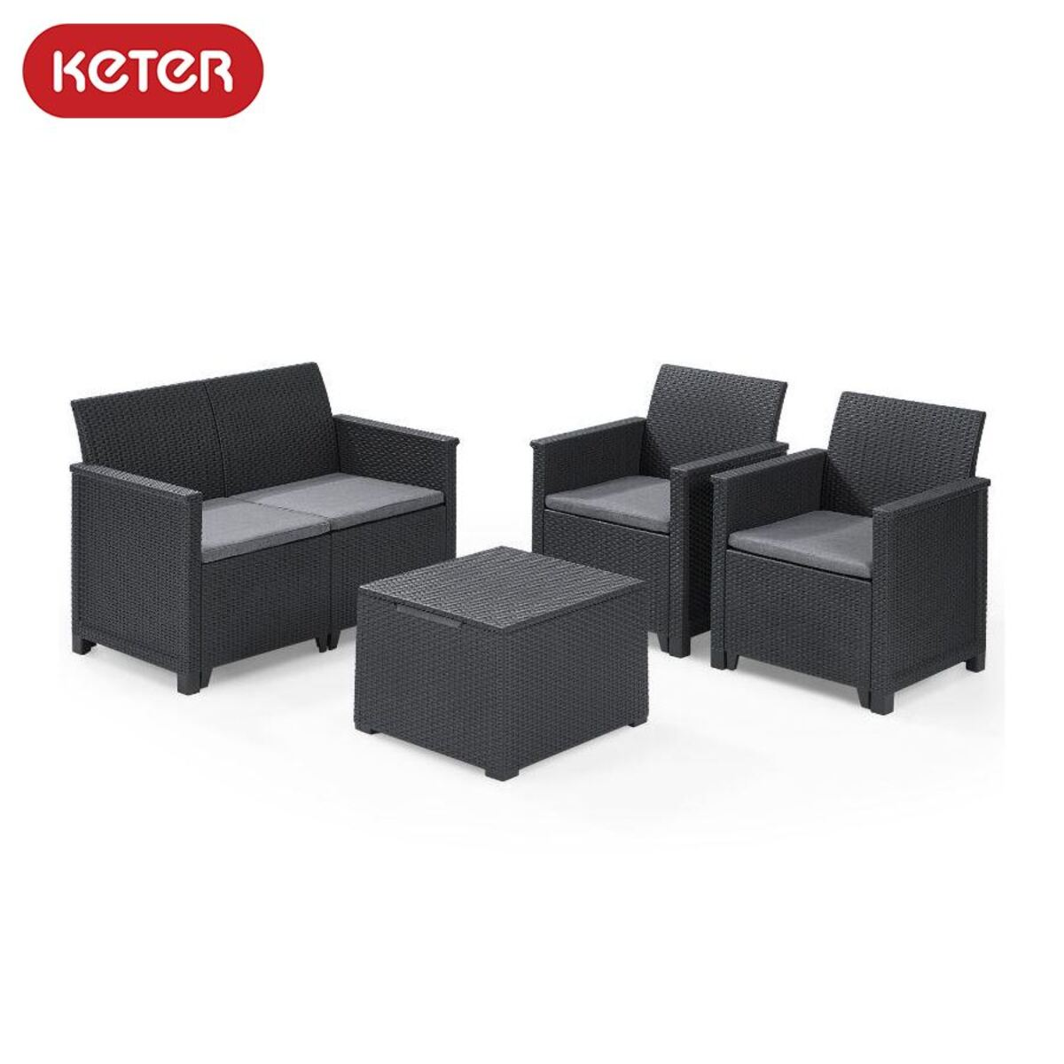 Bild 1 von Keter Lounge-Sitzgruppe Emma mit Sitzkissen Graphit
