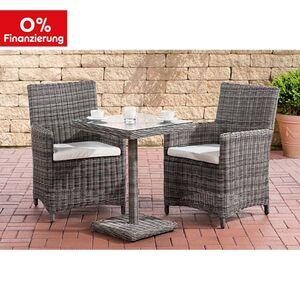 CLP Sitzgruppe SANKT MARLO 5mm I Polyrattan Gartengarnitur mit Aluminiumgestell I Balkonset: 2 Gartensessel und ein Tisch
