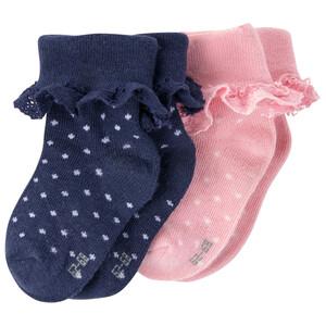 2 Paar Newborn Socken mit Rüsche aus Spitze