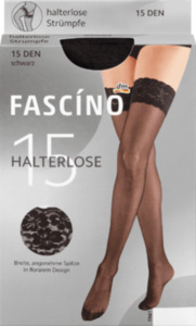 FASCÍNO Halterlose Strümpfe mit Spitzenband 15 den, schwarz, Gr. 38/40